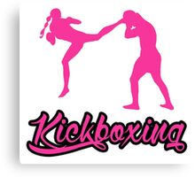 Kickboxing Female Jumping Back Kick Pink  Canvas Print