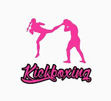 Kickboxing Female Jumping Back Kick Pink  Unisex T-Shirt