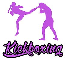 Kickboxing Female Jumping Back Kick Purple  by yin888