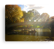 Sunlight and Boats - Bow Bridge Central Park Canvas Print