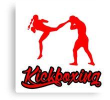 Kickboxing Female Jumping Back Kick Red  Canvas Print