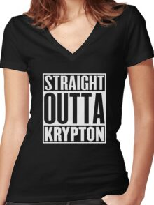 Straight Outta Krypton Women's Fitted V-Neck T-Shirt