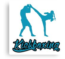 Kickboxing Female Spinning Back Kick Blue  Canvas Print