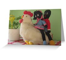 Gollies riding a Chicken Greeting Card