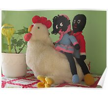 Gollies riding a Chicken Poster