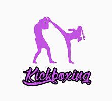 Kickboxing Female Spinning Back Kick Purple  T-Shirt