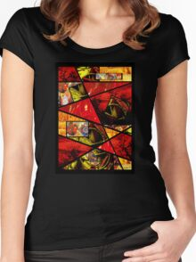 Stain Glass Image Collage (red,yellow) Women's Fitted Scoop T-Shirt
