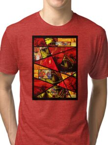 Stain Glass Image Collage (red,yellow) Tri-blend T-Shirt