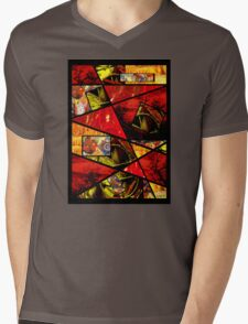 Stain Glass Image Collage (red,yellow) Mens V-Neck T-Shirt