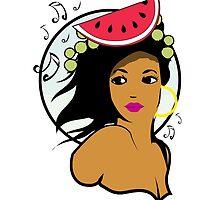 Hawaiian music girl by masatomio