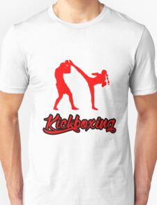 Kickboxing Female Spinning Back Kick Red  T-Shirt