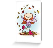 Playing in Leaves Greeting Card