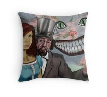 """WE'RE ALL MAD HERE !"" Throw Pillow"