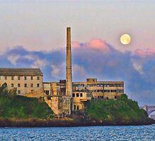 Moon by Alcatraz Island, SF, CA by vincefoto