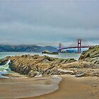 Beach by Golden Gate Bridge, SF,CA by vincefoto