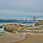 Beach by Golden Gate Bridge, SF,CA by vincefoto