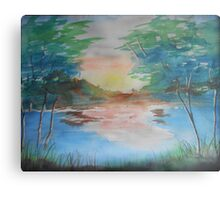THE THIN GOLD MASK - sunset on the lake Metal Print