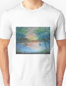 THE THIN GOLD MASK - sunset on the lake T-Shirt