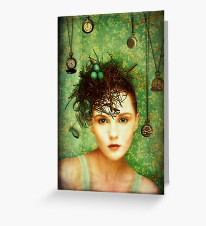 Girl With Bird's Nest Greeting Card