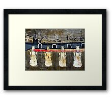Four Faceless Girls Share One Pair of Lips, 2001, Acrylic on Paper, Justin Curfman Framed Print