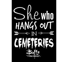 She Who Hangs Out in Cemeteries (White) Photographic Print