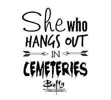 She Who Hangs Out in Cemeteries (Black) Photographic Print