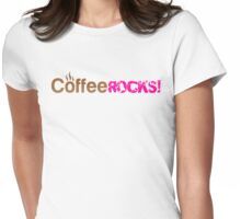 Coffee Rocks Typography Brown And Magenta Womens Fitted T-Shirt