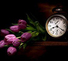 Frozen time by purple tulips still life by Ondřej Smolka