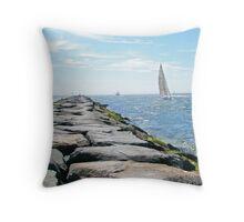 Sailing Barnegat Inlet Throw Pillow