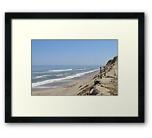 Ocean bluff and beach Framed Print