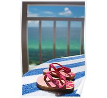 Beach Paradise - Sandals Overlooking the Beach Poster