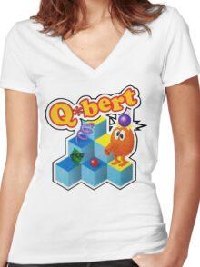 Q*Bert Logo Women's Fitted V-Neck T-Shirt