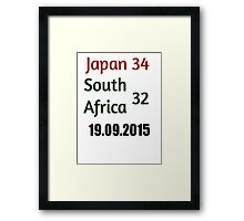 Japan 34 - 32 South Africa - Rugby World Cup 2015  Framed Print