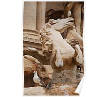 Horse Statue,Trevi Fountain in Rome Poster