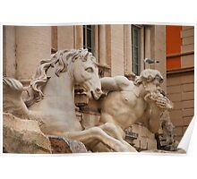 Triton Blowing Conch Shell and Horse Statue, Trevi Fountain Poster