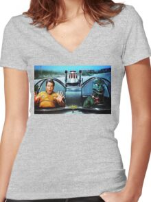 KIRK AND GORN BATMOBILE Oil Painting On Canvas Women's Fitted V-Neck T-Shirt