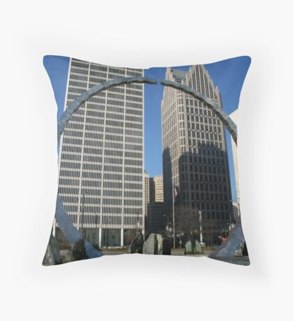 BUILDINGS IN DETROIT Throw Pillow
