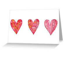 Hearts ,watercolor Greeting Card