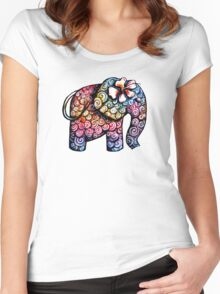 Tattoo Elephant TShirt Women's Fitted Scoop T-Shirt