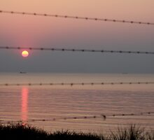 Sea behind barbed wire by Marcel van Ommeren