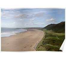 The Beach at Rhossili Gower  Poster