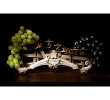 A pair of scales with grapes still life Photographic Print