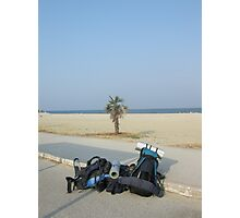 Two backpacks near the ocean - Arriving at destination Photographic Print