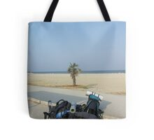Two backpacks near the ocean - Arriving at destination Tote Bag
