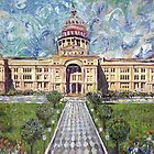 "GretchenArt ""Van Gogh Visits the Austin Capital"" by Gretchenart"