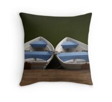 Rowboats in the morning Throw Pillow