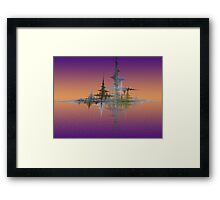 Sunset In Fractal Land Framed Print