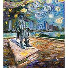 "GretchenArt ""Stevie Ray Gogh"" 18x24 Poster  by Gretchenart"