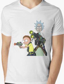 Badass rick and morty Mens V-Neck T-Shirt