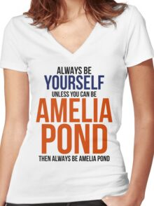 Always Be Amelia Pond Women's Fitted V-Neck T-Shirt